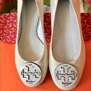 Tory Burch white Patent Reva Ballet Shoes